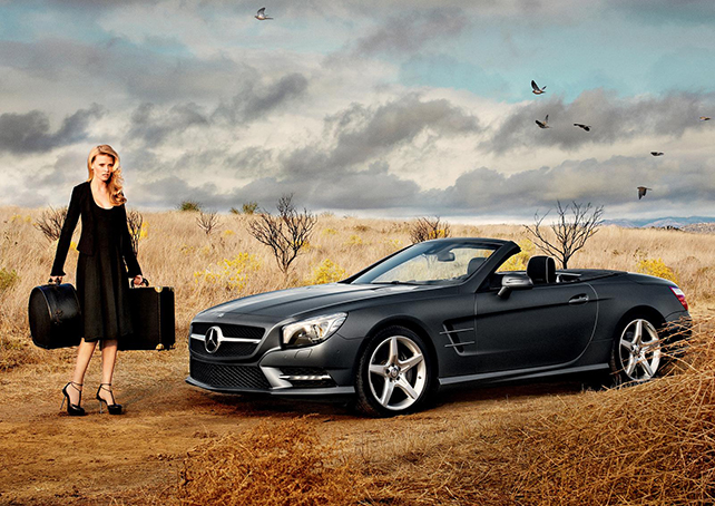 Dutch supermodel, Lara Stone, a quinessential Hitchcock blond_in a Mercedes Benz S Class_ Prestigious Euro Cars